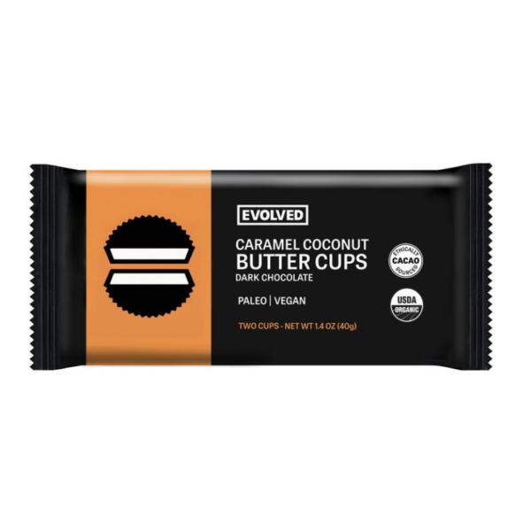 Caramel & Sea Salt Dark Chocolate Coconut Butter Cups by Evolved comes in a sealed pouch