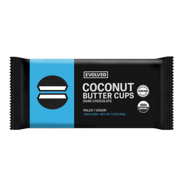Classic Dark Chocolate Coconut Butter Cups by Evolved comes in a sealed pouch
