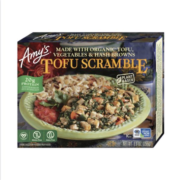 Tofu Scramble By Amy's comes in a box with a container inside