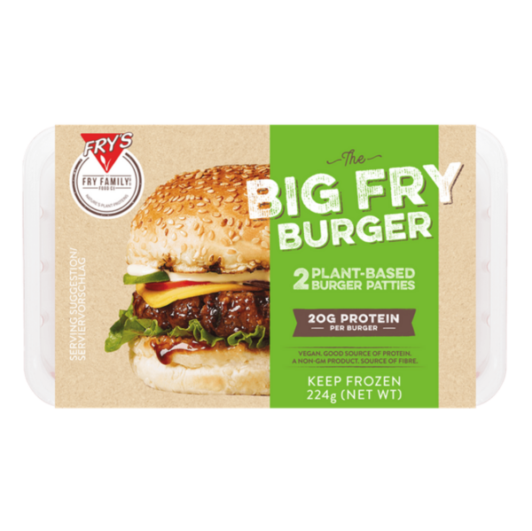 The Big Fry Quarter Pound Burger by Fry's comes in a sealed plastic container with two patties