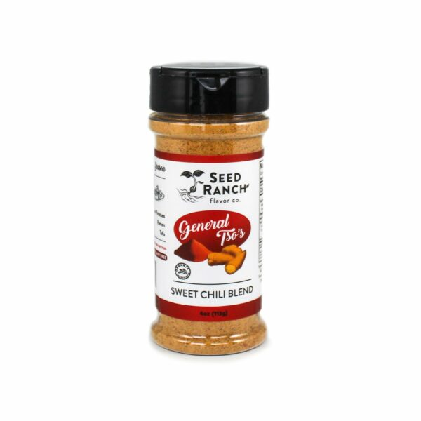 General Tso's Sweet Chili Seasoning by Seed Ranch Flavor Co. comes in a plastic container with lid