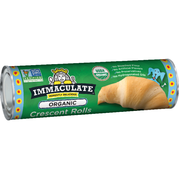 Organic Crescent Rolls by Immaculate Baking comes in a sealed metal tub