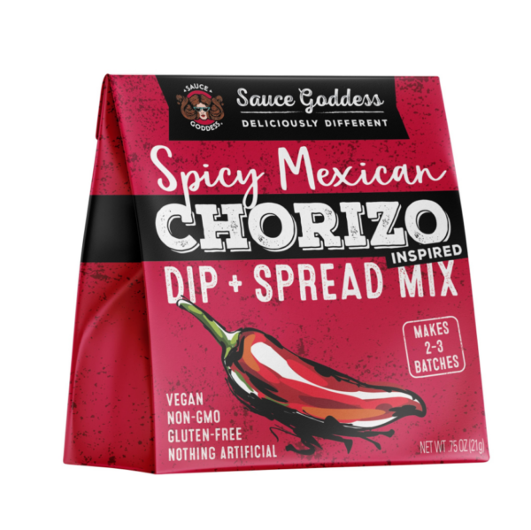 Spicy Mexican Chorizo Dip & Spread Mix by Sauce Goddess comes in a sealed bag