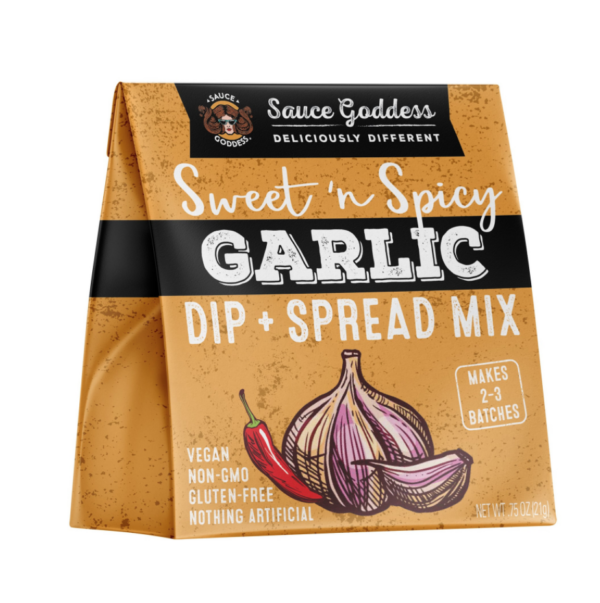 Sweetened Spicy Garlic Dip & Spread Mix by Sauce Goddess comes in a sealed package