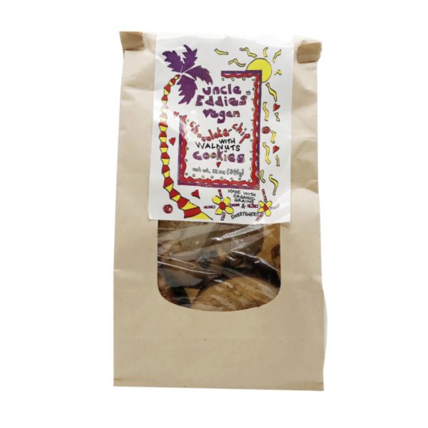 Chocolate Chip with Walnuts Cookies by Uncle Eddies Vegan comes in a sealed bag